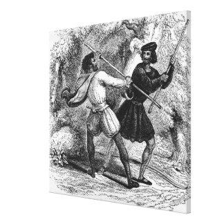 Robin Hood y el Tanner con las barras de hierro Impresiones De Lienzo
