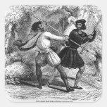 Robin Hood y el Tanner con las barras de hierro Pegatina Cuadrada