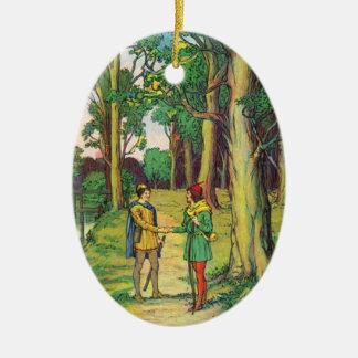 Robin Hood y pequeño Juan Adorno Navideño Ovalado De Cerámica
