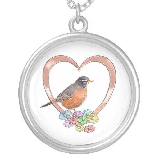 Robin in Heart Round Pendant Necklace