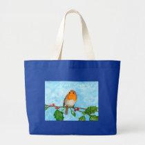 Robin in Snow Christmas Gift Shoulder Tote Bag