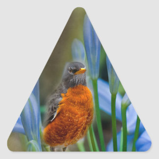 Robin in Spring Flowers Triangle Sticker