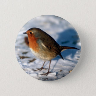 Robin in the Snow Button