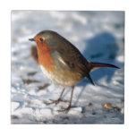 Robin In The Snow Ceramic Tile
