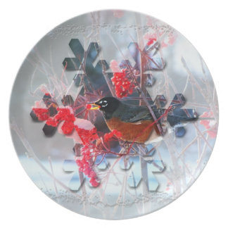 Robin in the Tree; Merry Christmas Plate