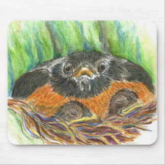 Robin Mother - Watercolor Pencil Mouse Pad