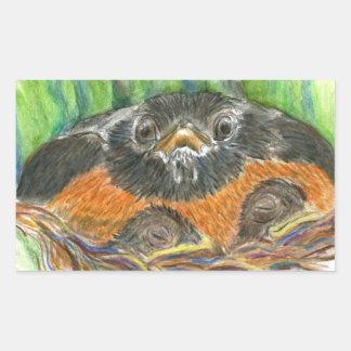 Robin Mother - Watercolor Pencil Rectangular Sticker