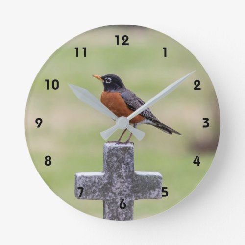 Robin on a Cross Round Clock