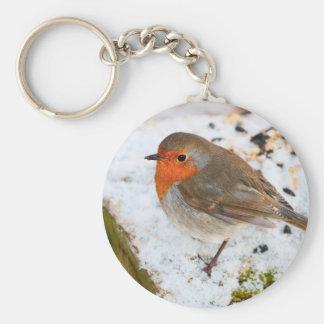 Robin on a snowy log keychain