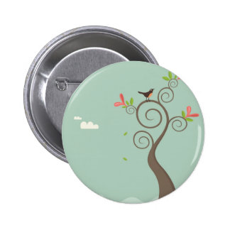 Robin on a Tree Pinback Button