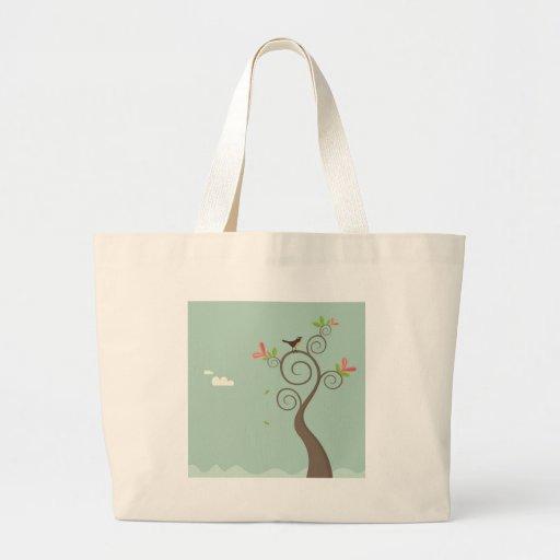 Robin on a Tree Canvas Bag