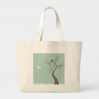 Robin on a Tree Large Tote Bag