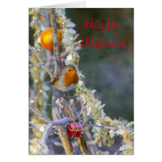 Robin on Christmas tree with tinsel Card