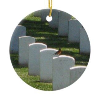 Robin on gravestone ornament
