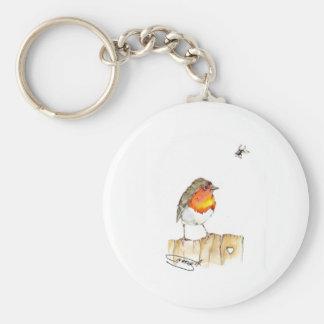Robin Original Watercolor Design Basic Round Button Keychain