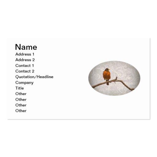 Robin Photo with Damask Swirl Design Business Card