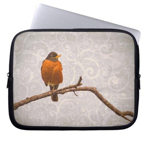 Robin Photo with Damask Swirl Design Laptop Sleeve