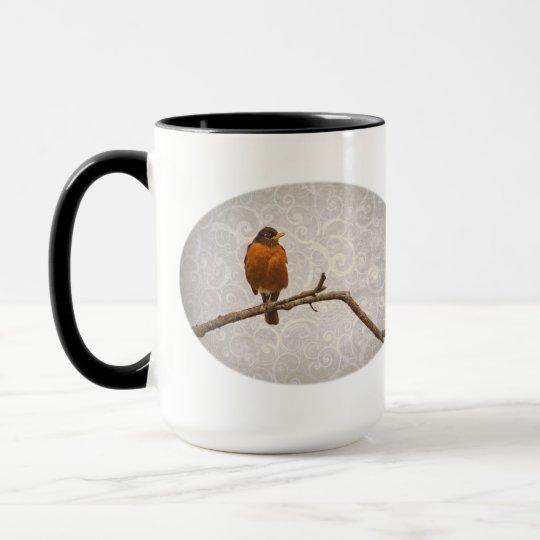 Robin Photo with Damask Swirl Design Mug