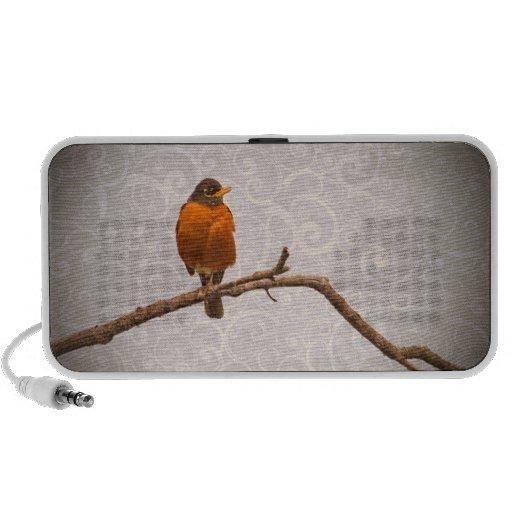 Robin Photo with Damask Swirl Design Portable Speaker