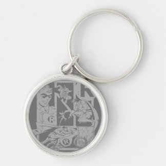 Robin - Picto Grey Silver-Colored Round Keychain