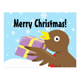 Robin present Merry Christmas Postcard