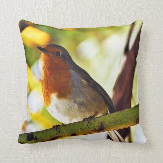 Robin red breast bird 2 throw pillow