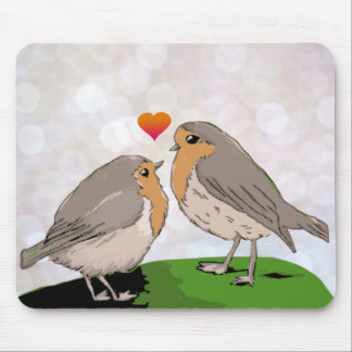 Robin red breast bird love mouse pad