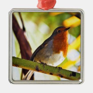 Robin red breast bird metal ornament