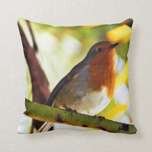 Red Bird Throw Pillow : Robin red breast bird throw pillow Zazzle