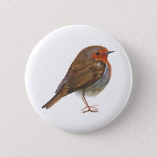 Robin Red Breast Bird Watercolor Painting Artwork Pinback Button