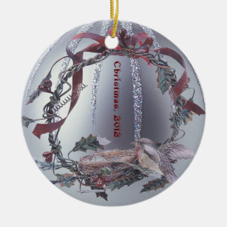 Robin Red Breast Embellished Silver Ornament