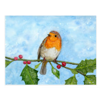 Robin Red Breast Watercolour Painting Postcard