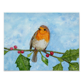 Robin Red Breast Watercolour Painting Poster
