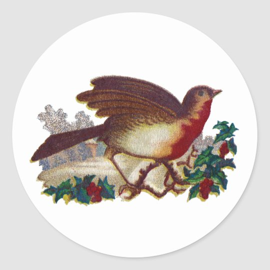 Robin Redbreast and Holly Victorian Classic Round Sticker