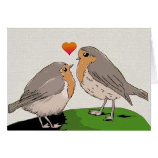 Robin redbreast bird love card