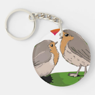 Robin redbreast bird love keychain