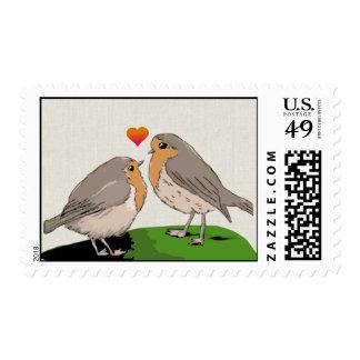 Robin redbreast bird love postage