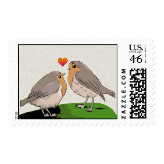 Robin redbreast bird love postage stamps