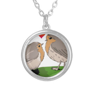 Robin redbreast bird love silver plated necklace