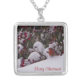 Robin Redbreast in the Snow Silver Plated Necklace