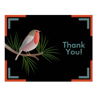 Robin Redbreast Thank You Postcard