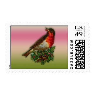 Robin Redbreast with Holly Holiday Postage Stamps
