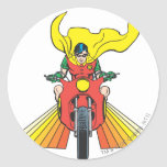 Robin Rides 2 2 Classic Round Sticker