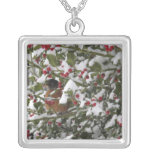 robin sheltering in a holly tree after a snow square pendant necklace