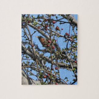 Robin Sitting in the Tree Branches Jigsaw Puzzle