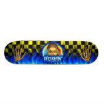 Robin skull blue fire Skatersollie skateboard.
