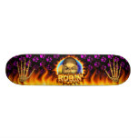 Robin skull real fire and flames skateboard design