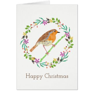 Robin the bird of Christmas Card