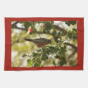 Robin Thrush Feasts on Holly 1 Hand Towel