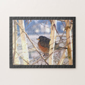 Robin waiting for Spring Jigsaw Puzzle
